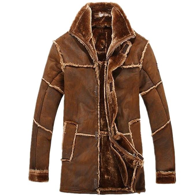 Amazon.com: Allonly - Chaqueta de piel de oveja para hombre ...
