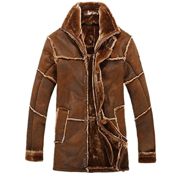 Allonly Men's Vintage Sheepskin Jacket Fur Leather Jacket Cashmere ...