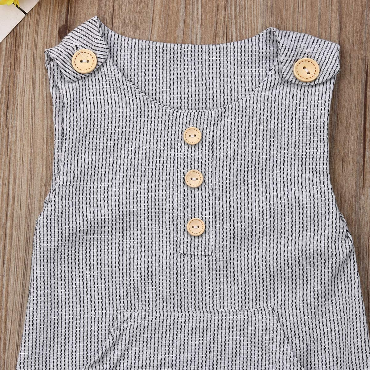 Piacakece Newborn Infant Baby Boy Girl Stripe Romper Overall Button Jumpsuit Bodysuit Pant Clothes Outfits