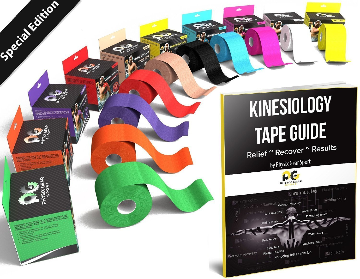Physix Gear Sport Kinesiology Tape - Free Illustrated E-Guide - 16ft Uncut Roll - Best Pain Relief Adhesive for Muscles, Shin Splints Knee & Shoulder - 24/7 Waterproof Therapeutic Aid (1PK BLK)