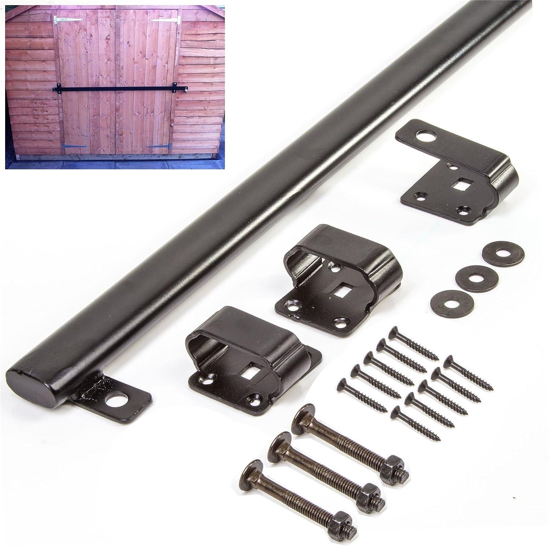 42 Shed Lock Bar - Garage/Barn Door Security Heavy Duty Long Safety Steel Arm White Hinge