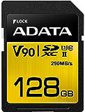 ADATA Premier ONE 128GB SDXC UHS-II U3 Class10 V90 3D NAND 4K 8K Ultra HD 290MB/s SD Card (ASDX128GUII3CL10-C)