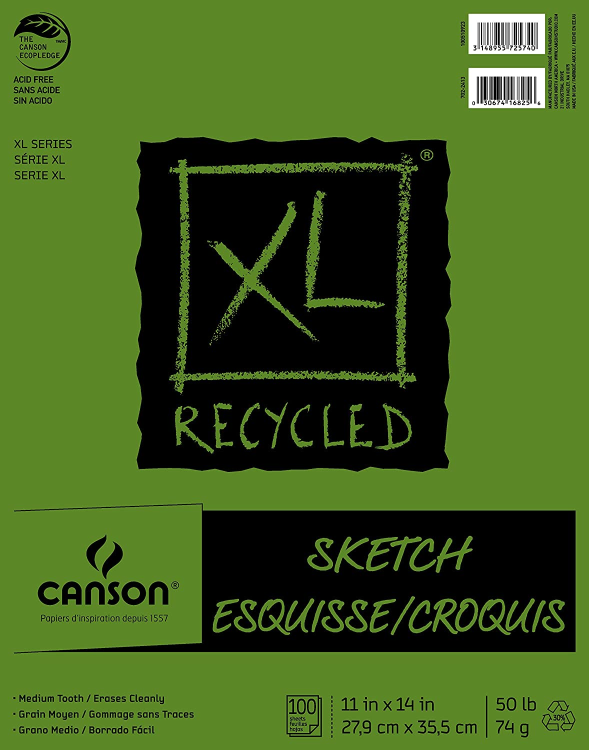 Canson XL Series Recycled Paper Sketch Pad, Fold Over, 50 Pound, 3.5 x 5.5 Inch, 100 Sheets Canson Inc. 100510920