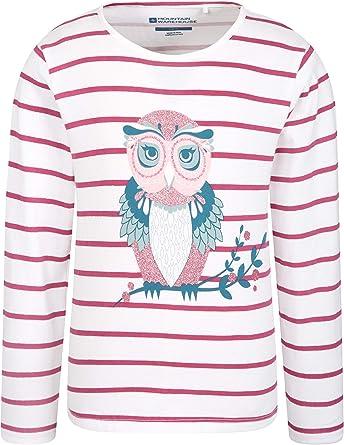 Mountain Warehouse Camiseta de algodón 100% para niños Owl Sparkle - Diseño a Rayas, UV, Ligera y Transpirable - para Senderismo y Actividades al Aire Libre Rosa pálido 2-3 Años: Amazon.es: Ropa y accesorios