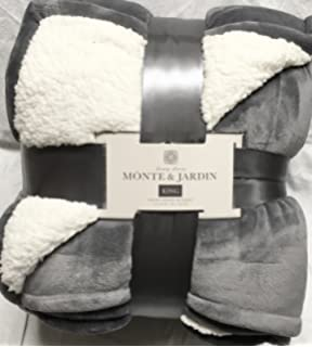 Monte And Jardin Velvet Sherpa King Gray Blanket Super Size 112 By 92  Inches Over 10,000