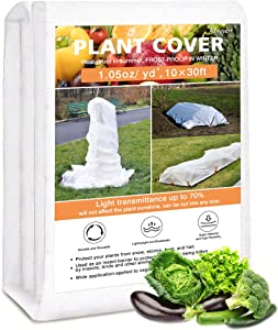 Alinnart Plant Covers Freeze Protection, 10FT×30FT Frost Cloth for Garden Plants, 1.05OZ Reusable Frost Blankets for Outdoor Plants,Floating Row Cover for Vegetables Cold Weather Sun Pest Protection