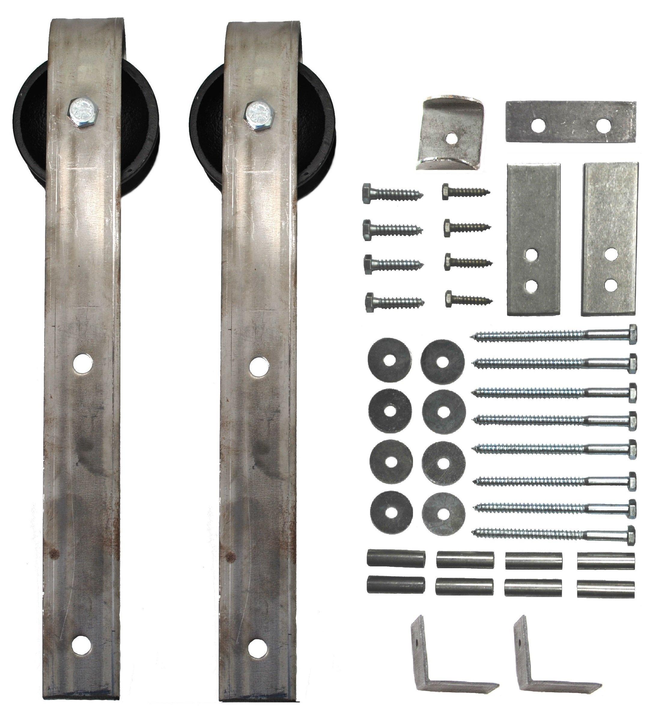 Sliding Barn Door Wheel & Hanger Kit (with Mounting Hardware) - 2 pcs.