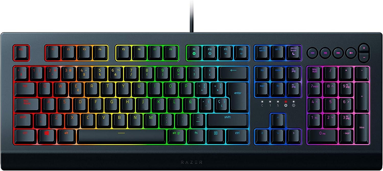 Razer Cynosa V2 Teclado para juegos de membrana,teclado con teclas de resorte suave, teclas multimedia, gestión de cables, totalmente programable, iluminación RGB Chroma, ES Layout
