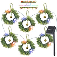 Loren Solar String Lights with Jingle Bells Christmas Wreath with Light 9.84ft Waterproof Decoration LED Lighting for…