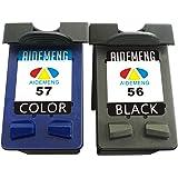 AideMeng 56 57 C6656AE C6657AE (2-Pack Negro Tricolor) Cartuchos de Tinta Remanufacturado Para HP Deskjet HP Photosmart Imprimantes tout-en-un HP Officejet