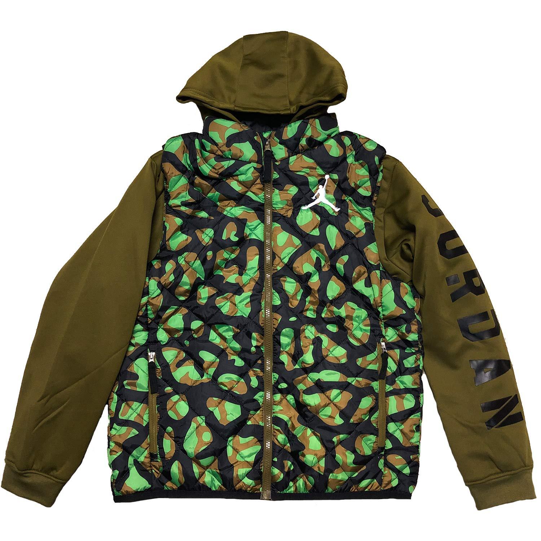 e00aa680231d1b Amazon.com  Jordan Boys  Layered-Look Quilted Vest Hoodie (Medium)  Clothing