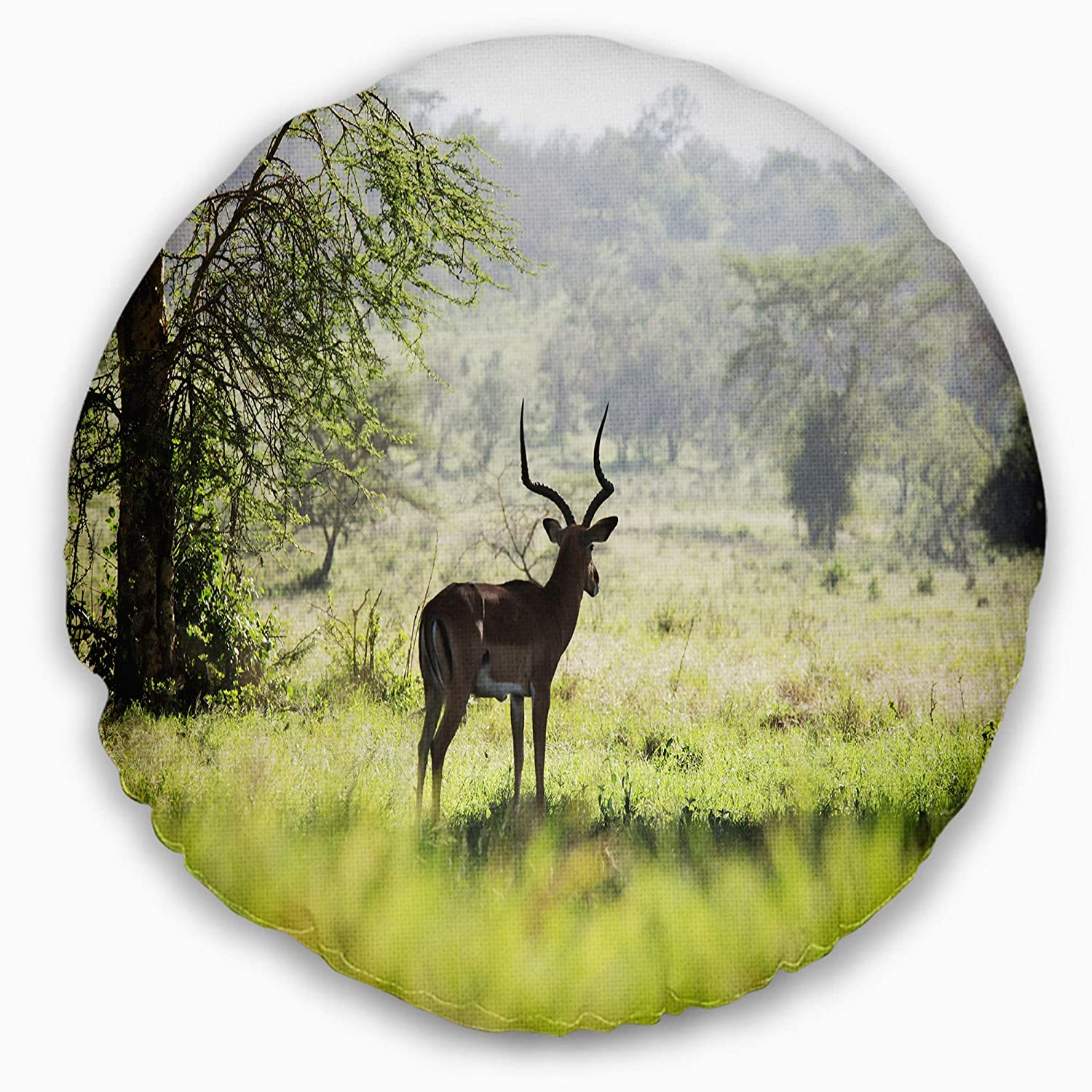 Designart CU12678-20-20-C Solitary Antelope in Green Park African Landscape Printed Round Cushion Cover for Living Room Sofa Throw Pillow 20 Insert Side