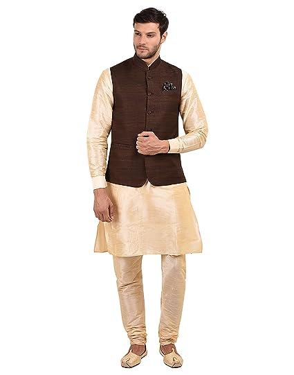 0bd49845f7142 Favoroski Men s Beige Silk Blend Kurta Pyjama With Brown Khadi Self Cotton  Waistcoat Set  Amazon.in  Clothing   Accessories