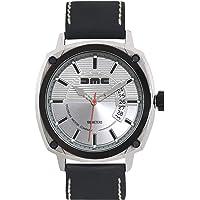 DMC Delorean Motor Company orologio in acciaio INOX nero lunetta & Crown 100m acqua & resistente ai graffi con quadrante argento