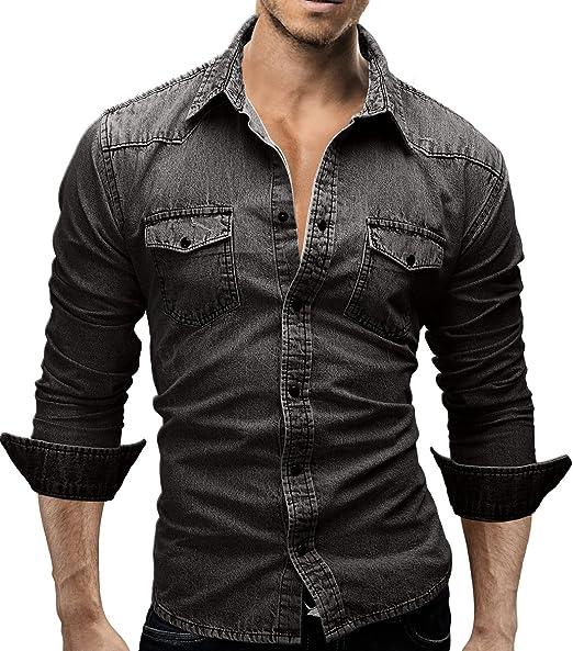 29 opinioni per Merish camicia di jeans da uomo, Slim Fit, 3 colori, attillata, per il tempo