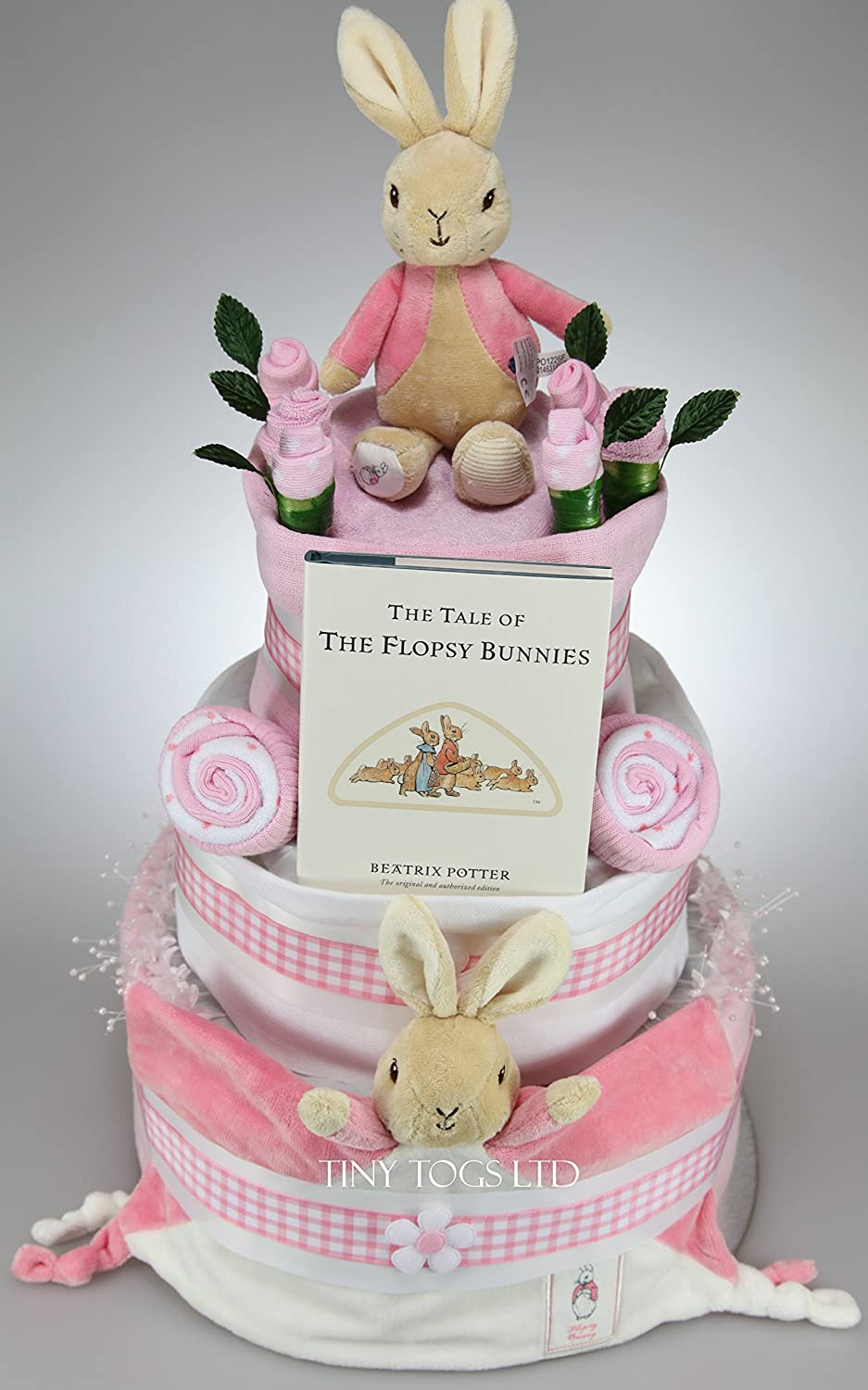 Luxury Unisex Baby Girl Three Tier Nappy Cake with Flopsy Bunny toy and bunny layette set Peter Rabbit New Born Baby Shower Gift Tiny Togs Ltd