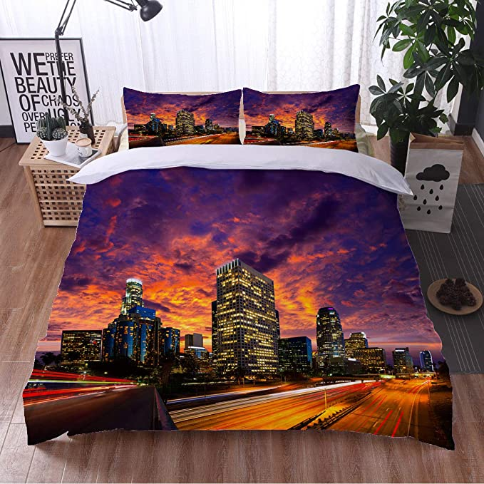 Amazon Com Cityscape 3 Piece Quilt Set Comfortable And Soft Downtown La Night Los Angeles Sunset Skyline 3 Piece Bedding Set With 2 Pillow Shams Luxury Full Home Kitchen