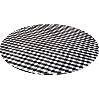 Perfk Vinyl Elastic Table Cover with Flannel Backing for Round Table, Reusable and Waterproof, 40 to 56 inch Large Round…