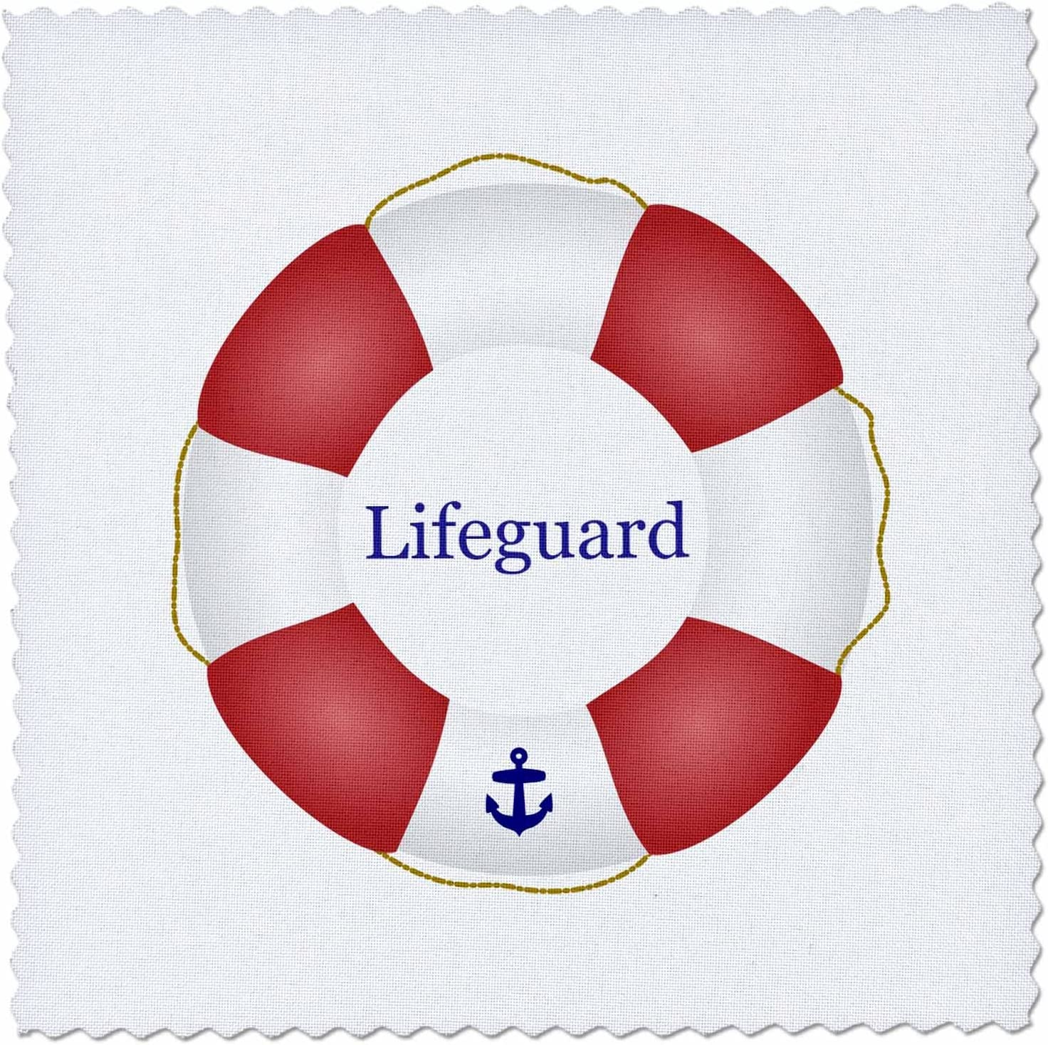 qs/_112970/_4 3dRose Lifeguard Lifesaver Swimming Pool Saver Preserver-sea Beach Life Guard red and White Float-Quilt Square 12-inch