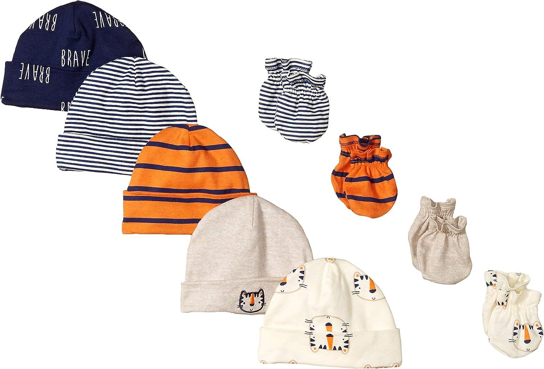 Gerber Baby Boys 5-Pack Caps 0-6 Months Safari