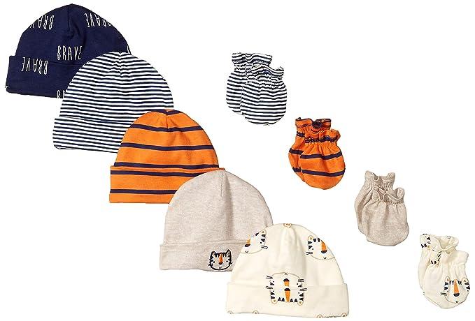 8dad69e7c Amazon.com: Gerber Baby Boys' 9-Piece Cap and Mitten Bundle, Happy ...