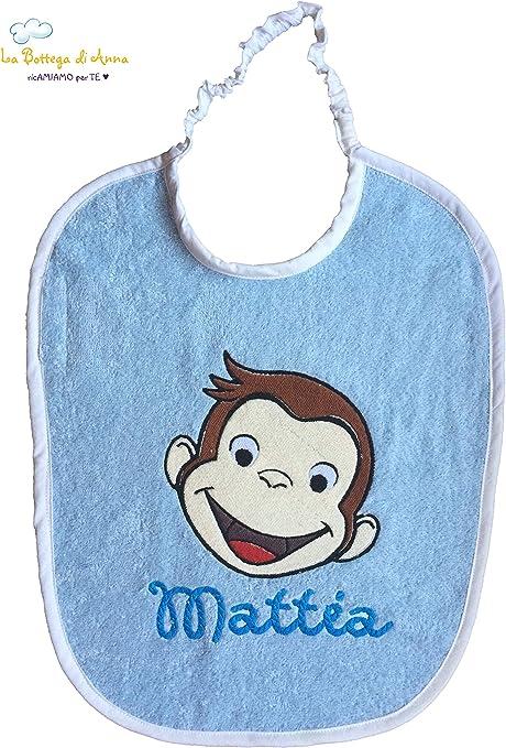 Babero de rizo de algodón, color azul con cierre de cinta elástica ...