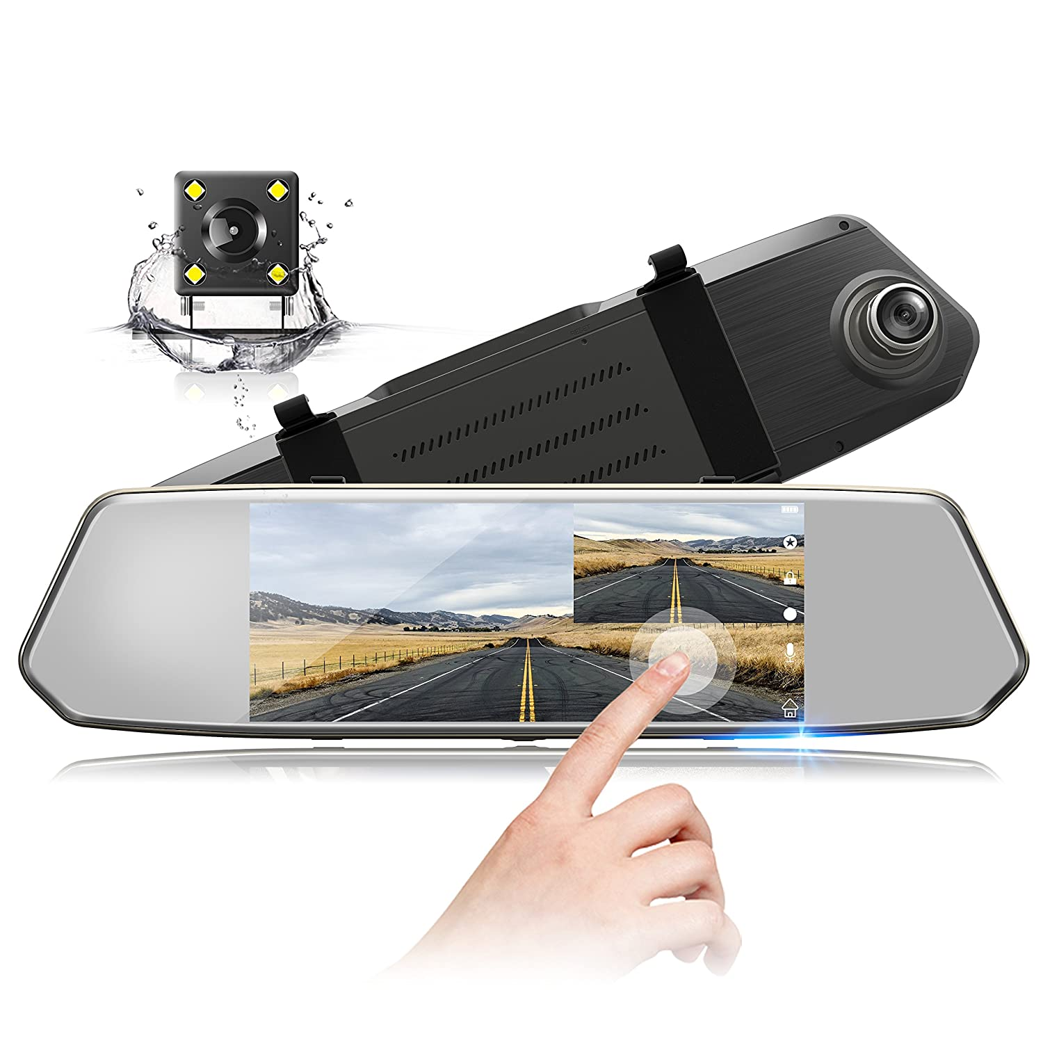 TOGUARD Mirror Dash Cam 1080P Dual Lens 7 Inch IPS Touch Screen, Dash Cam Front and Rear View Waterproof Backup Camera 170° Wide Angle with G-Sensor Parking Monitor Motion Detection CE35