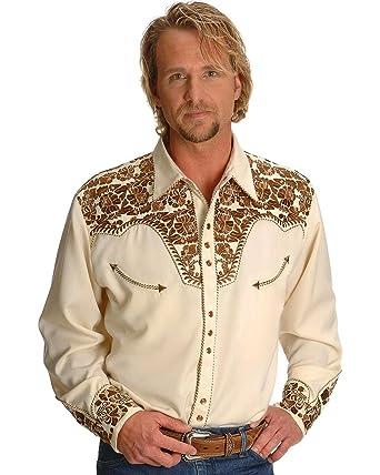 04a4865e6e5 Scully Men s Gunfighter Heavily Embroidered Retro Western Shirt Natural  Small