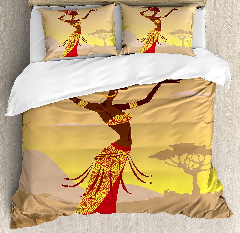 Afroインテリア布団カバーセットby Ambesonne、African Woman in Desert with Gulls flying around FolkメススタイリッシュなArtful印刷、装飾寝具セットwithピロー、Amber Tan キング nev_23234_king B075MRL7XM キング マルチ1 マルチ1 キング
