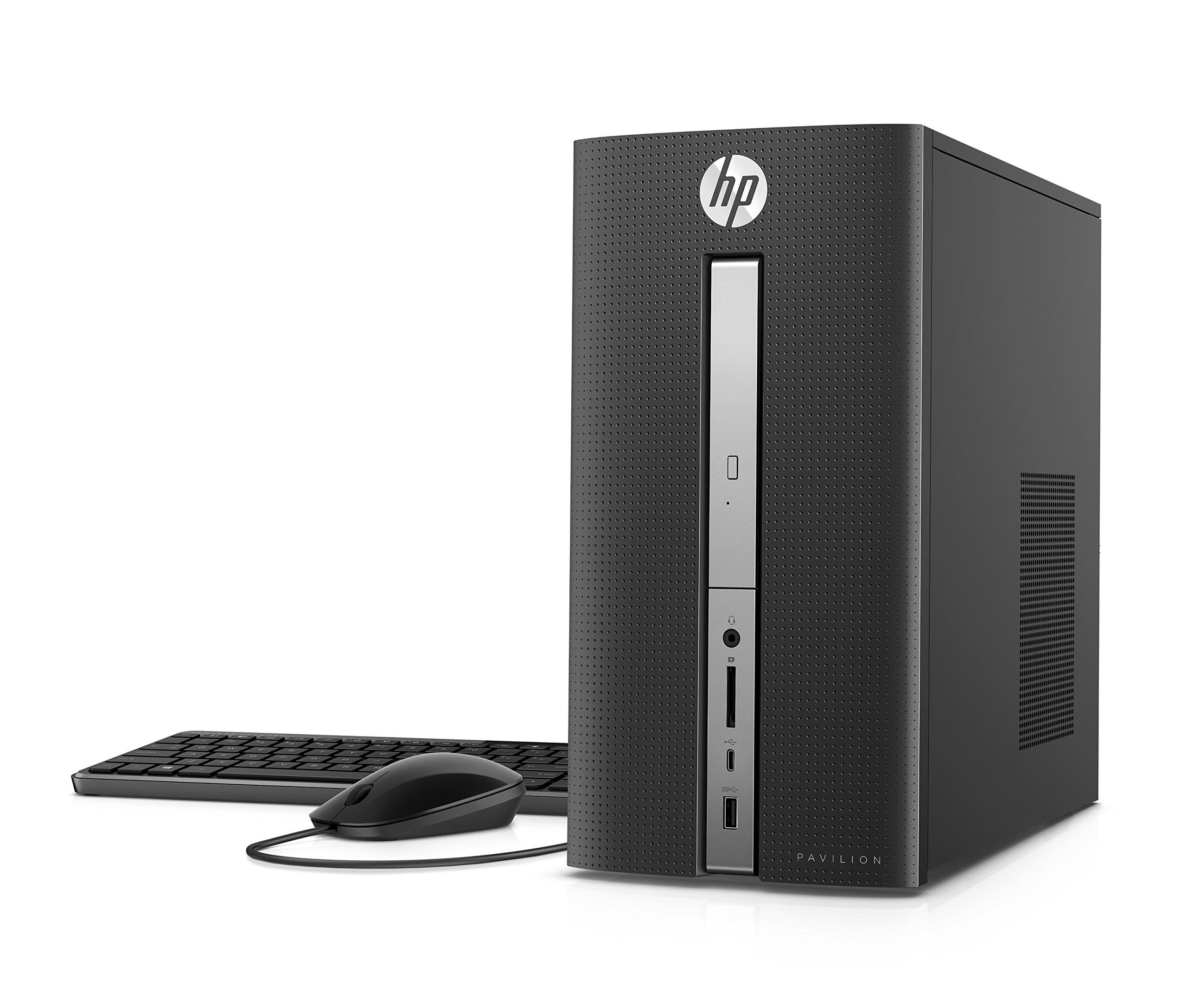 HP Pavilion Desktop Computer, Intel Core i7-7700, 12GB RAM, 1TB hard drive, Windows 10 (570-p030, Black) by HP