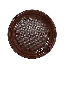 COOLMP - Juego de 12 Platos de plástico Chocolate 22 cm ...