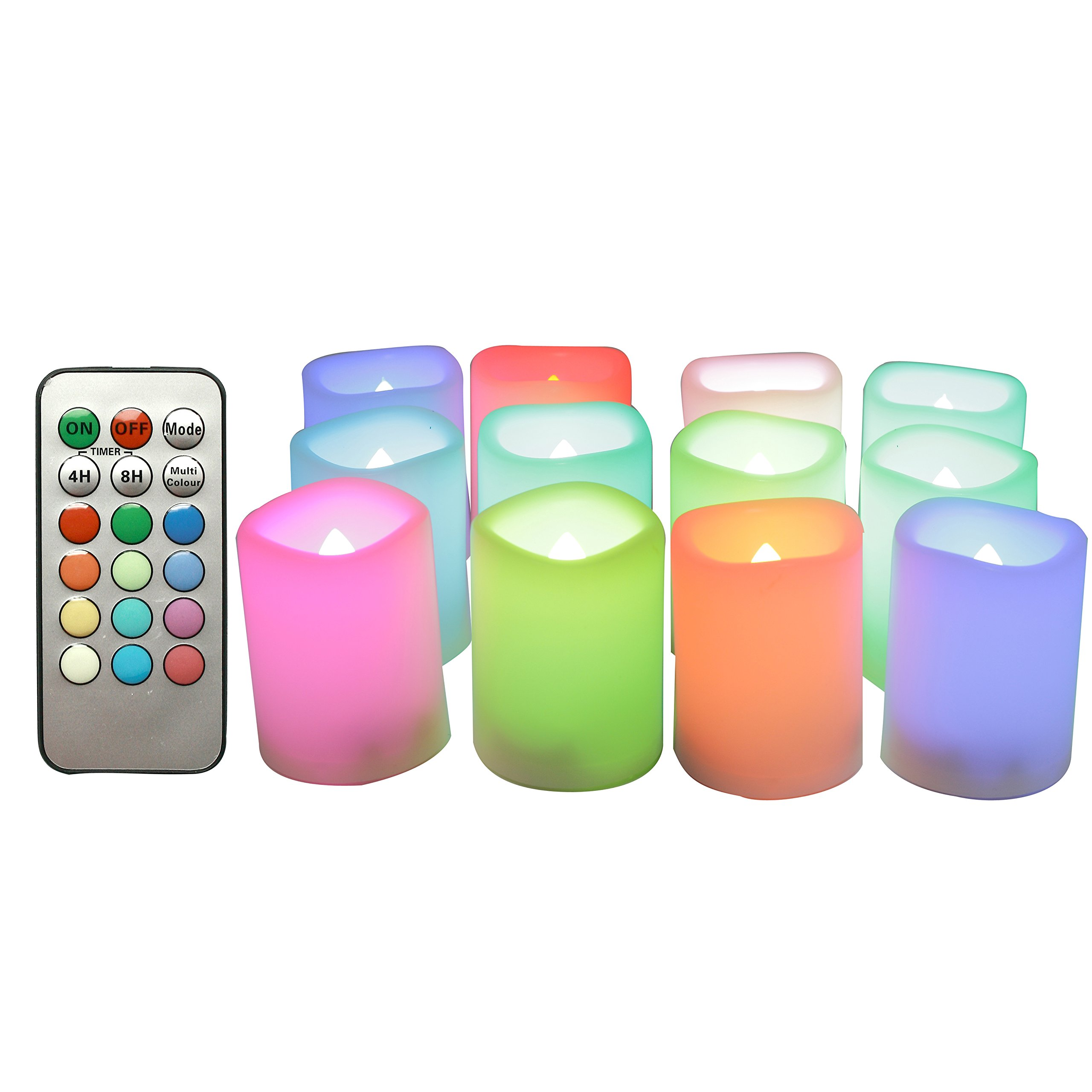 """CANDLE CHOICE 12-Pack Realistic Color Changing Flameless Votive Candles Bright Battery Operated RGB Multi-Color LED Votives with Remote and Timer 1.5""""x2"""" Party Wedding Birthday Holiday Décor Gift"""