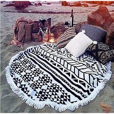 cckiise Round Beach Throw Towel Mandala Tapestry Indian Yoga Mat Tassels Circle Beach Blanket 61  Wall Hanging (black2)