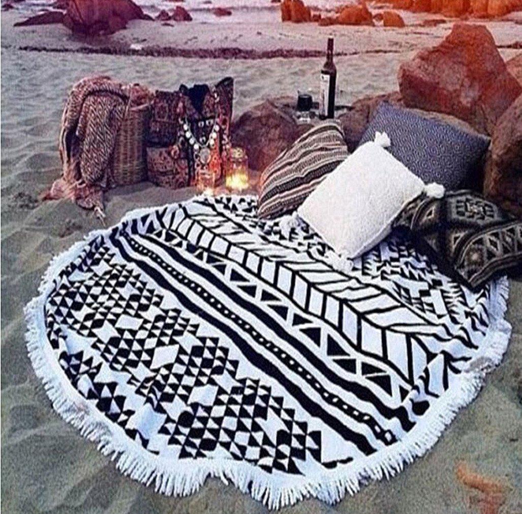 cckiise Round Mandala Tapestry Indian Wall Hanging Beach Throw Towel Yoga Mat Sunscreen Shawl Wrap Tassels Cotton Circle Beach Blanket (black2)