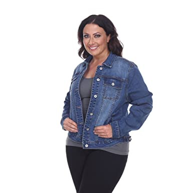 71e0ee2971 White Mark Women's Plus Size Denim Jacket at Amazon Women's Coats Shop