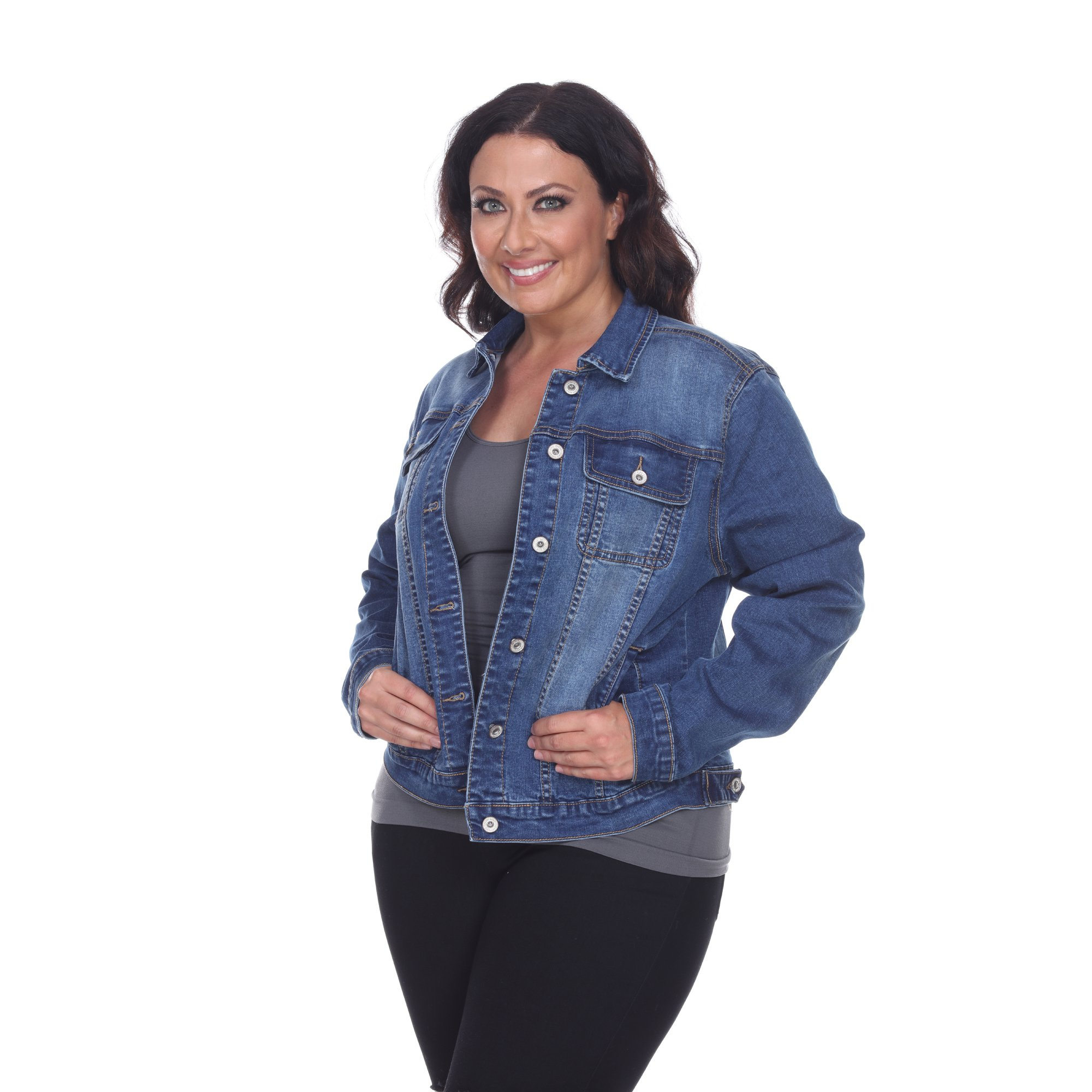 White Mark Women's Plus Size Denim Jacket 1XL Blue