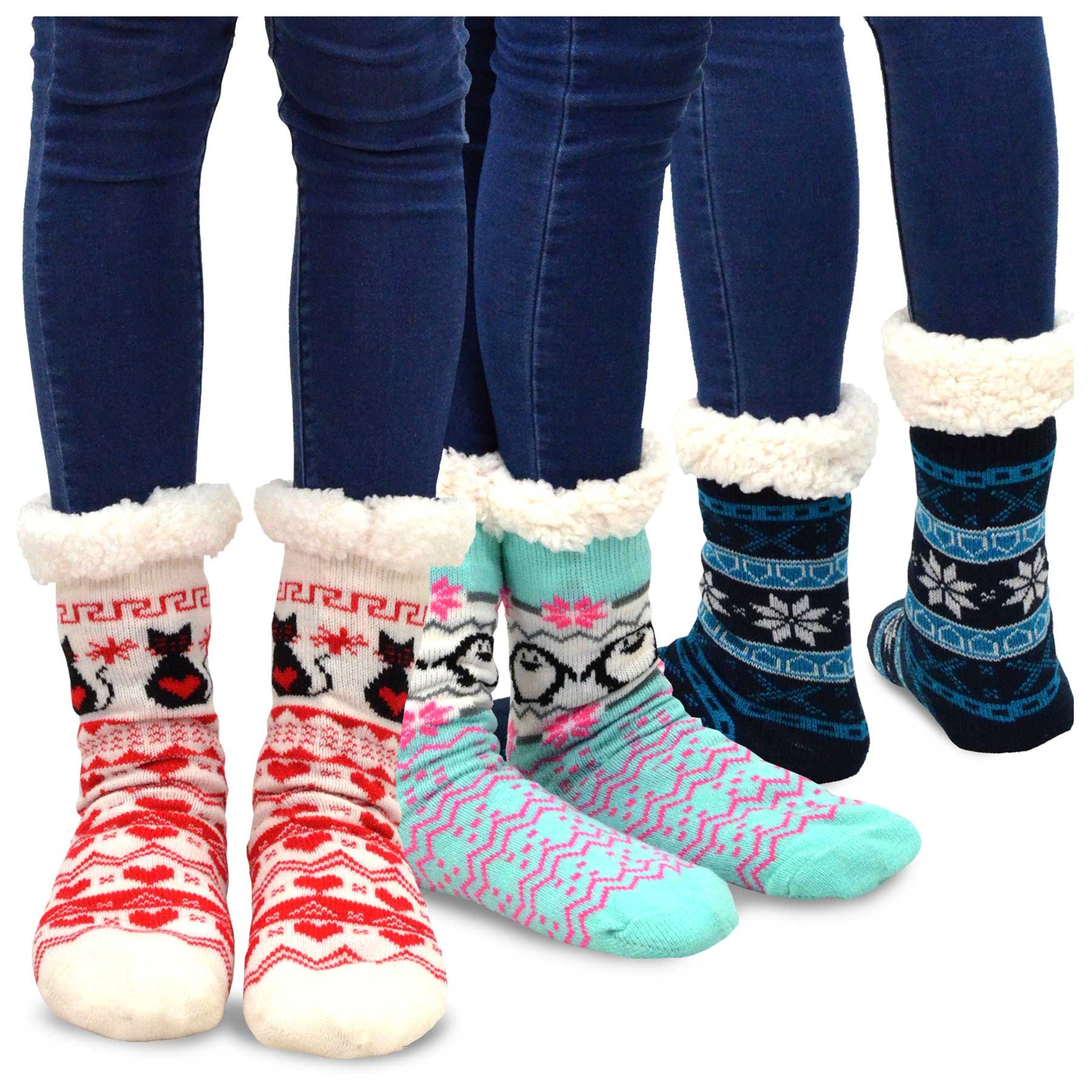 Teehee Womens Soft Premium Thermal Double Layer Crew Socks 3-Pack (Assorted)