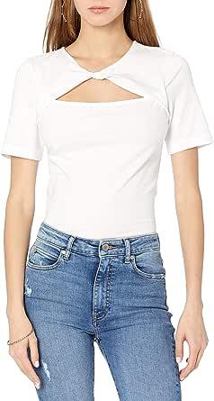 The Drop Camiseta para Mujer, Astrid de Punto Elástico con Detalle Retorcido Delantero