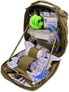 """Lightning X Products Premium Nylon MOLLE Pouch Emergency Kit, Ideal for Tactical Medics, Military, Outdoor Enthusiasts (8"""" x 6.5"""" x 3"""", Black or Tan, for Gunshot Wounds & Bleeding Control)"""