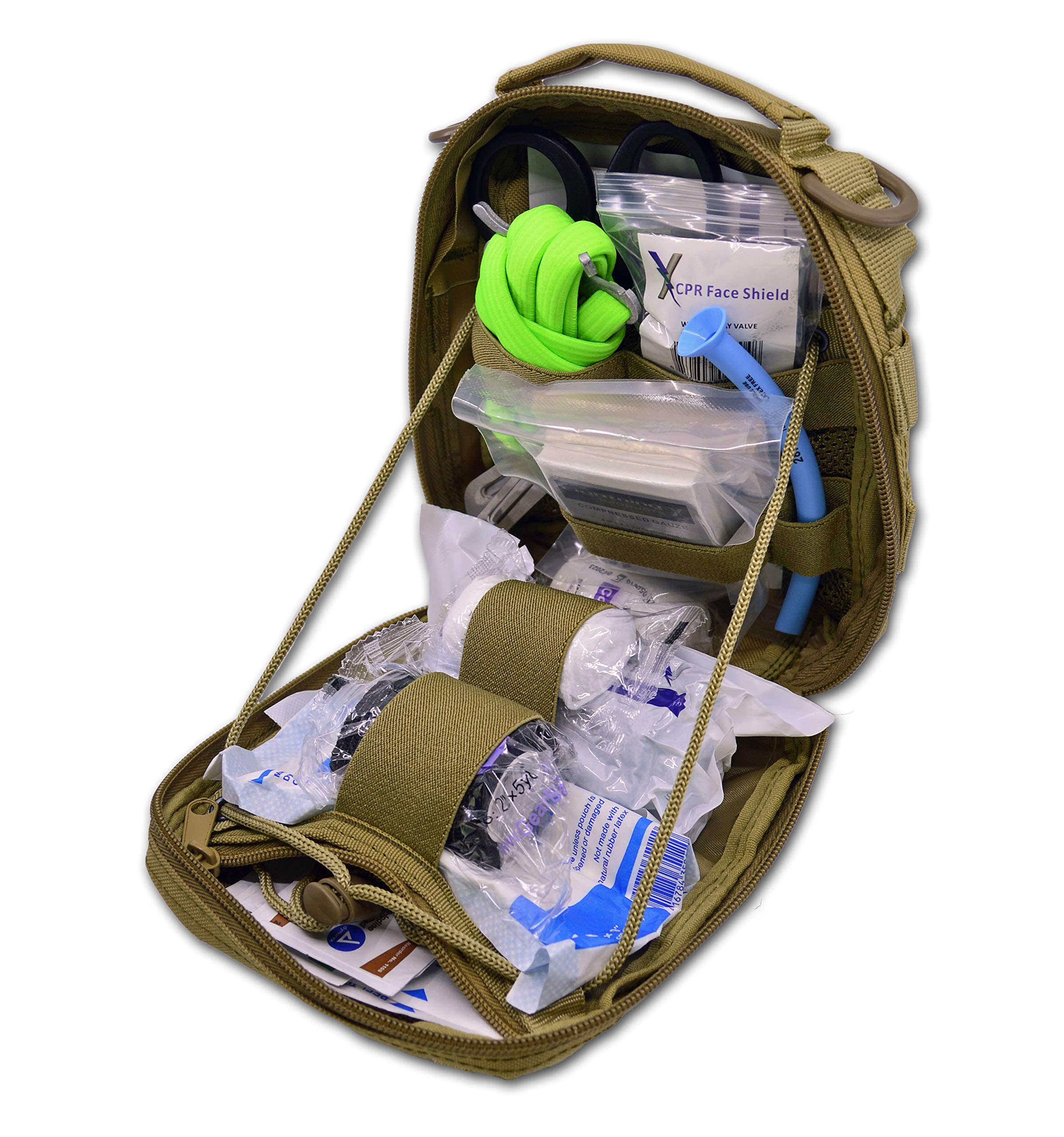 Lightning X Individual First Aid Trauma/Hemorrhage Control Kit in MOLLE IFAK Pouch Value Edition - TAN by Lightning X Products