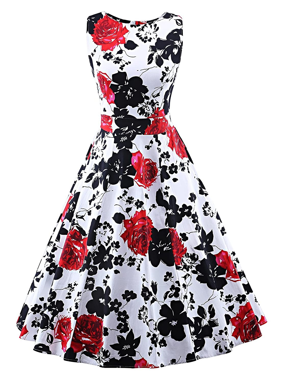 Black Red Flo VOGVOG Women's Retro Swing Dresses Vintage Sleeveless Dresses for Party