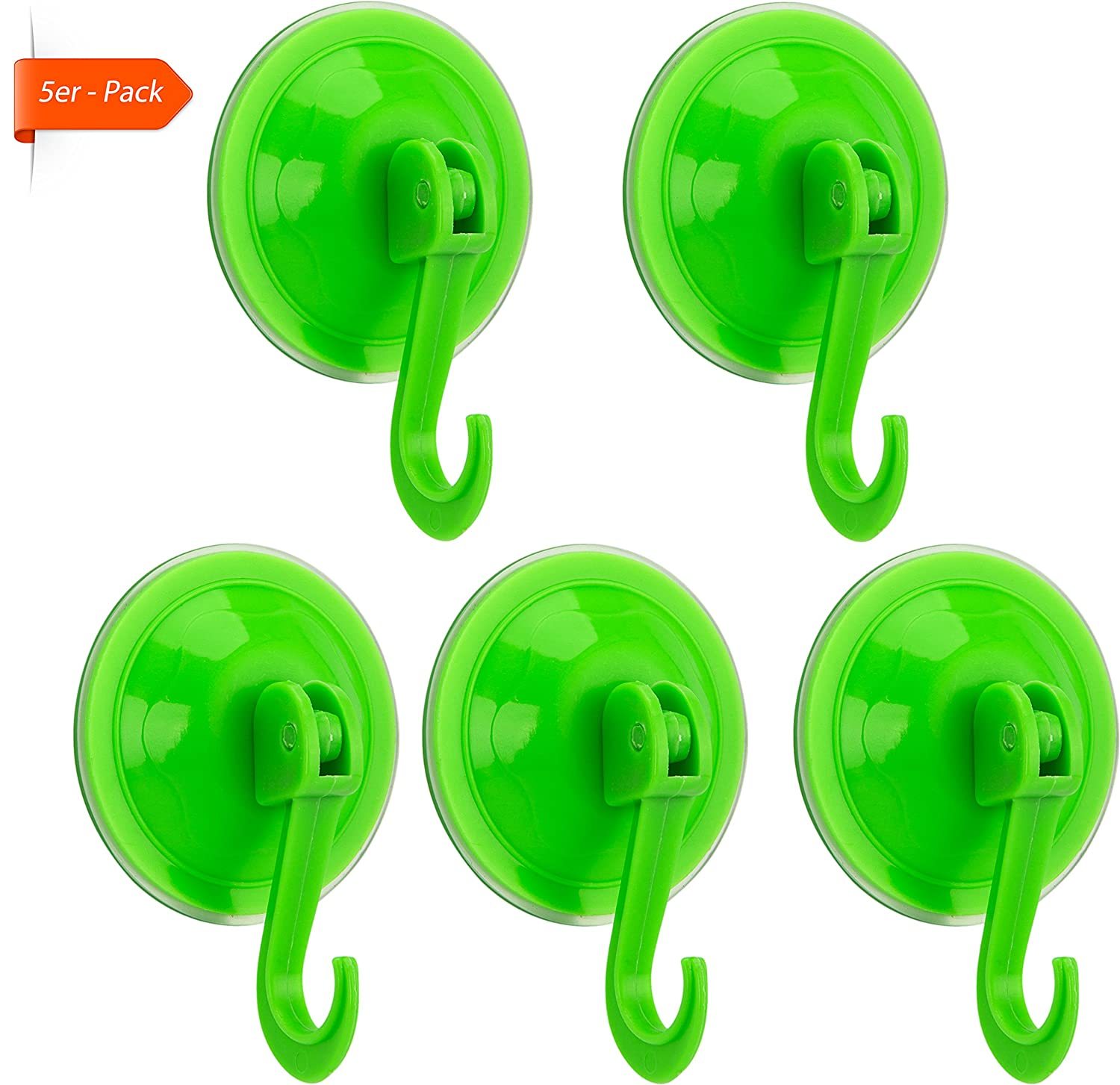 Rusty Bob - Wall hook set with suction cup - for kitchen & bathroom, plastic (for glass, ceramic tile), 15kg load capacity, without drilling - 10 Yellow