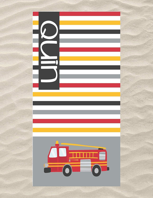 Fire Truck Beach Towel, Personalized Beach Towel Kids, Fire Truck Stuff Kids