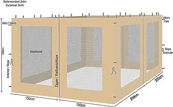 Quick-Star 4 Laterales con mosquitera para Hojas Carpa 3 x 4 m Aspecto Pared Arena: Amazon.es: Jardín