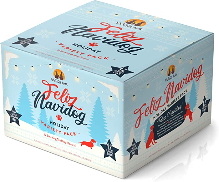 Weruva Classic Dog Food, Feliz Navidog Holiday Grain Free Canned Dog Food Variety Pack, 5.5oz Can (Pack of 12)