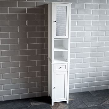 Home Discount Milano Tall Mirrored Bathroom Cabinet Storage Cupboard Floor Standing Tallboy Unit White : bathroom storage cupboard  - Aquiesqueretaro.Com