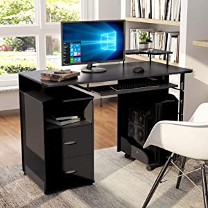 Computer Desk with Drawers, Home Office Desk, Computer Workstation with Pull-Out Keyboard Tray and Drawers (Espresso)