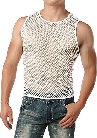 JOGAL Mens Mesh Fishnet Fitted Short Sleeve Hoodie Muscle Top