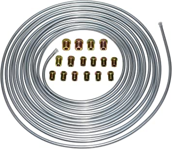25 ft 3//16 Brake Line Kit Steel Roll WITH Fittings