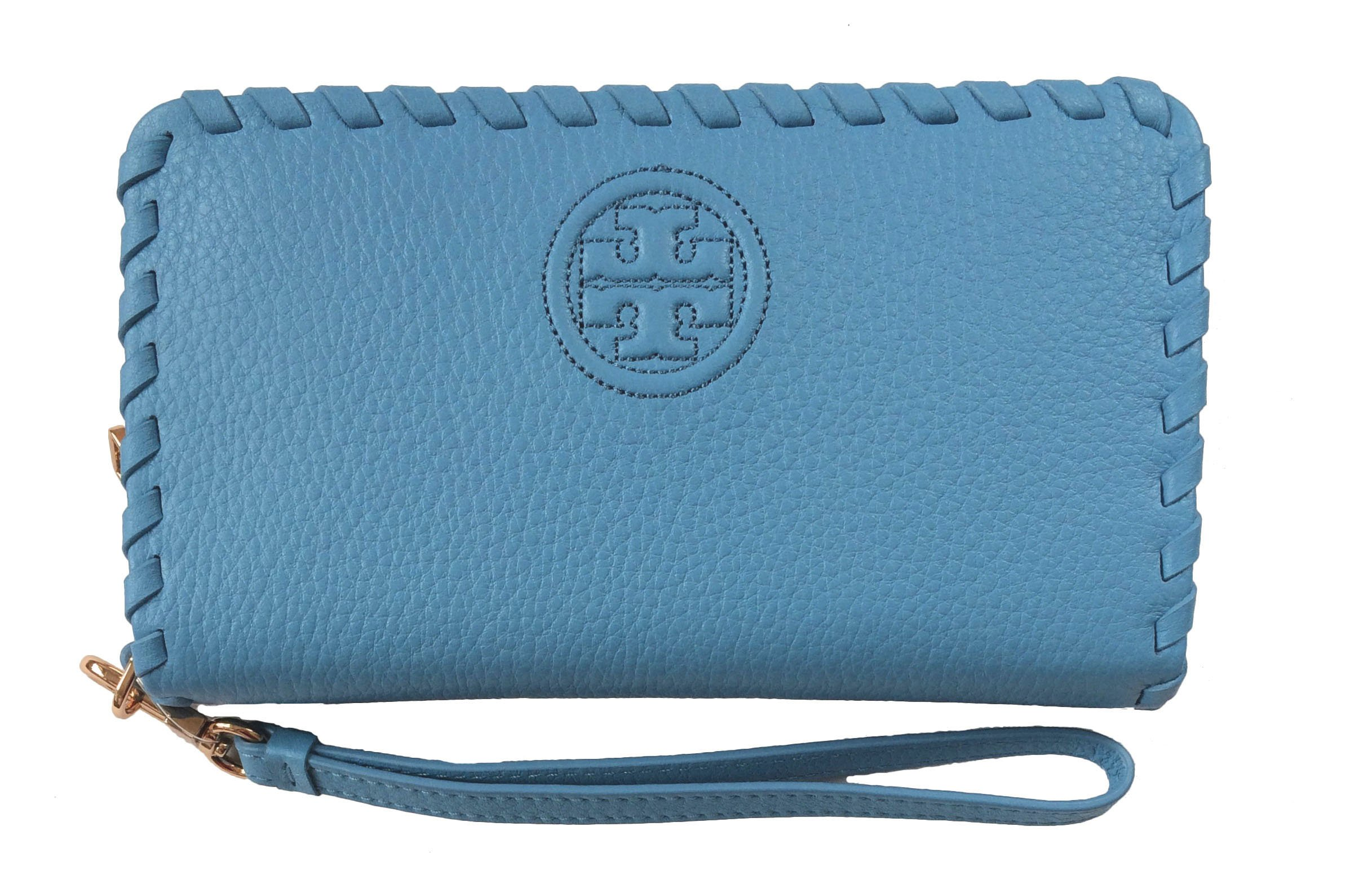 Tory Burch Marion Leather Smartphone Wristlet (Montego Blue)